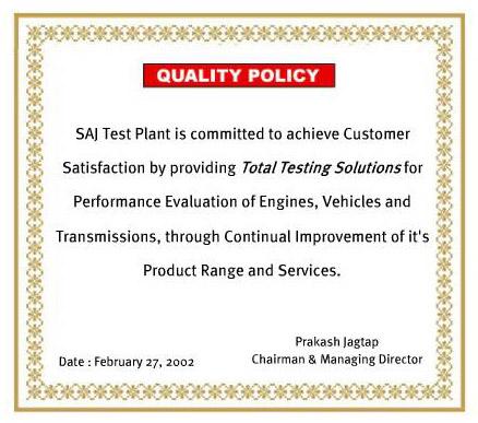 SAJ Test Plant Quality Policy