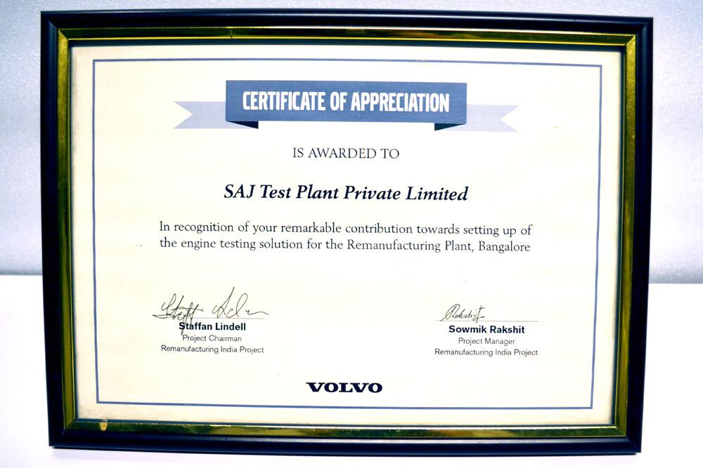 Sajdyno - Certificate of Appreciation Volvo