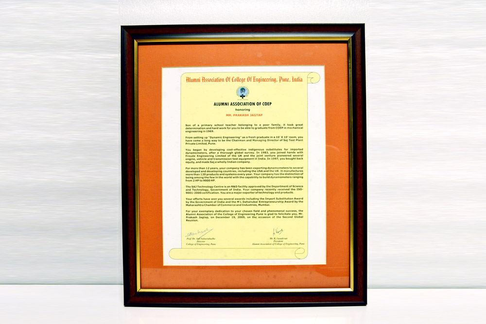Sajdyno – Award Alumni Association of COEP